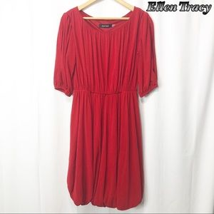 Ellen Tracy Red Fit n Flare Party Dress 4